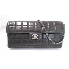 e70e55a52642 Clutch Classic Medium Flap Silver Chain Chocolate Bar + Cc Black Lambskin  Leather Shoulder Bag