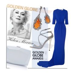 """Golden Globe Nominee Dame Helen Mirren"" by maranella ❤ liked on Polyvore featuring Jimmy Choo, Monique Lhuillier, Post-It, STELLA McCARTNEY, Arunashi and GoldenGlobes"