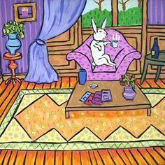 The lounge Bunny Rabbit Art Tile Coaster Gift