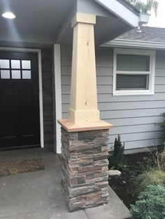 Things have been moving right along here on our home remodel project. I'm sure we can all agree that as DIY'ers the project is never finished. Front Porch Pillars, House Pillars, Porch Beams, Front Porch Posts, Front Yard Decor, Covered Front Porches, Front Yard Design, Houses With Front Porches, Front Porch Deck