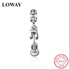 338bd1951 LOWAY Authentic 925 Sterling Silver Music Violin Charm Fit DIY Original  Bracelet Fashion Jewelry BA9087 Jewelry