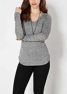 Gray V-Neck Marled Knit Top