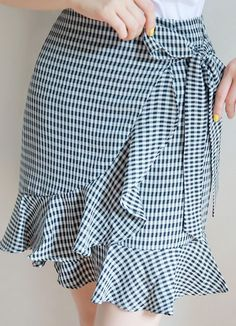 Gingham Print Ruffle Ribbon Tie Wrap Skirt Romantic & Trendy Looks, Styleonme Skirt Outfits, Dress Skirt, Ruffle Skirt, Tie Skirt, Short Skirts, Short Dresses, 50s Dresses, Wedding Dresses, Diy Fashion