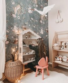 Baby Room Decor, Nursery Room, Wall Decor, Kids Bedroom Wallpaper, Deer Wallpaper, Forest Wallpaper, Girls Bedroom Mural, Wall Murals Bedroom, Whimsical Bedroom