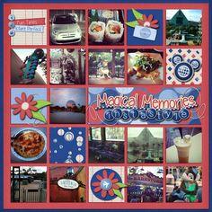 Disney Scrapbook Page Layout - Instagram by Lisa using Trip Report digital #scrapbook kit by Capturing Magical Memores #DisneyScrapbooking #DisneyMemories