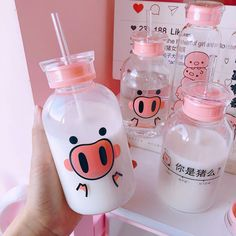 Kawaii Pig Glass Bottle - KawaiiTherapy Funny Pigs, Drink Bottles, Water Bottle, Food And Drink, Gourd Cute Water Bottles, Glass Bottles, Drink Bottles, Objet Wtf, Kawaii Pig, Kawaii Shop, Food Storage Boxes, Funny Pigs, Stainless Steel Types