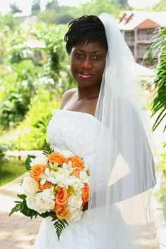 Orange and white rose bouquet from Awesome Caribbean Weddings