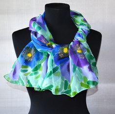 scarf silk flower batik silk present for woman by batikelena