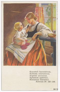 Martta Wendelin was a Finnish artist whose work was widely used to illustrate fairy tales and books, postcards, school books, magazine and book covers. Sara Kay, Carl Larsson, Children's Literature, Mother And Child, Vintage Pictures, Little People, Martini, Vintage Art, Mythology