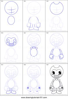 How to Draw Bendy from Bendy and the Ink Machine printable step by step drawing sheet : DrawingTutorials101.com
