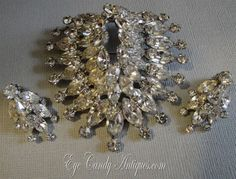 Vintage Weiss Rhinestone Brooch Earrings Set signed by EyeCandyAntiques