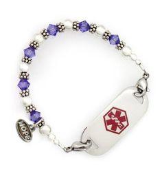 Tanzanite Crystal Medical ID Bracelet http://www.laurenshope.com/product/27/C6/tanzanite-crystal-medical-id-bracelet/size
