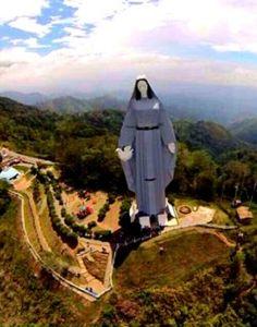 Virgen de La Paz desde vista aérea, Trujillo, Venezuela