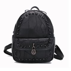 126691b0c05 2017 Trends Vintage Black Leather Backpack Women Bagpack Korean School  Backpacks Stud Back Packs Girls Fashion Lambskin Rucksack-in Backpacks from  Luggage ...