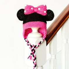"Get in touch with your inner cutie pie with this adorable ""Minnie Mouse Inspired Baby Hat""! Free crochet pattern available!"