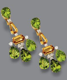 PAIR OF PERIDOT, CITRINE QUARTZ AND DIAMOND PENDANT-EARCLIPS The tops set with pear-shaped peridots, supporting calf's-head-cut and hexagonal cut citrines anchored by a fringe of pear-shaped peridots, decorated with round rose-cut diamonds weighing approximately 1.95 carats, mounted in 18 karat gold. En suite with lot 335.