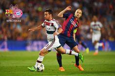 Juan Bernat (Bayern) & Andres Iniesta (Barcelona)  | 2015 Champions League Semi's at Barcelona