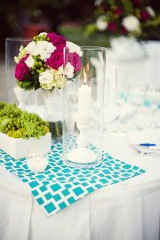 simple, pretty centerpiece, glass tube, candleholder.