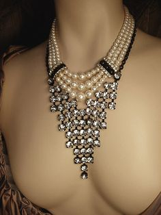 Pearl and rhinestone waterfall bib necklace set by vintagesparkles, $145.00