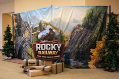 See how Group decorated for Rocky Railway VBS at our 2020 Field Test! Cardboard Train, Skinny Christmas Tree, Sequin Backdrop, Vbs Themes, Scene Setters, Imagination Station, Christian Crafts, Western Parties, School Decorations