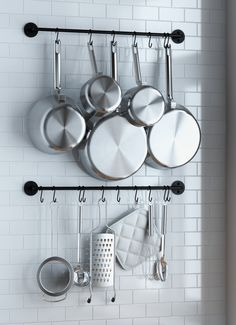 Wallniture Thick Kitchen Wall Mount Rail 24 inch Hanging Utensil Organizer Rack for Pots Pans Lids Utensils Set Of 2 Black Kitchen Utensil Organiser, Utensil Set, Kitchen Organization, Organization Ideas, Kitchen Utensils, Kitchen Organizers, Kitchen Shelves, Kitchen Decor, Kitchen Cabinets