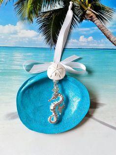 Seashell seahorse Christmas ornaments hand by beachseacrafts Glitter Acrylics, Base Coat, White Satin, Coastal Style, Sea Shells, Hanger, Hobbies, Sparkle, Bow
