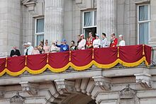 House of Windsor - Members of the House of Windsor on the balcony of Buckingham Palace, 15 June 2013. Left to right: Prince Richard, Duke of Gloucester; Lady Rose Gilman; Prince Michael of Kent; Princess Michael of Kent; Lady Louise Windsor; Prince Edward, Earl of Wessex; James, Viscount Severn; Sophie, Countess of Wessex; Camilla, Duchess of Cornwall; Prince Charles, Prince of Wales; Queen Elizabeth II; Princess Anne, Princess Royal; Prince Andrew, Duke of York; Prince Henry of Wales;