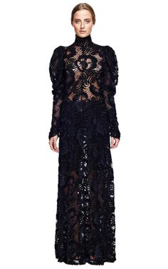 Navy Embroidered Lace Gown by Marc Jacobs for Preorder on Moda Operandi