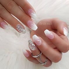 Glitter nail art designs have become a constant favorite. Almost every girl loves glitter on their nails. Have your found your favorite Glitter Nail Art Design ? Beautybigbang offer Glitter Nail Art Designs 2018 collections for you ! Cute Summer Nail Designs, Cute Summer Nails, White Nail Designs, Fun Nails, Nail Art Designs, Nails Design, Glitter Nails, French Manicure With Glitter, Ombre French Nails