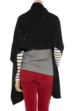 Sequin-embellished wool-blend shawl by DKNY
