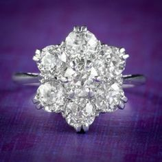 Vintage Diamond Cluster Ring 18ct Gold Platinum 2.10ct Of Diamond cover