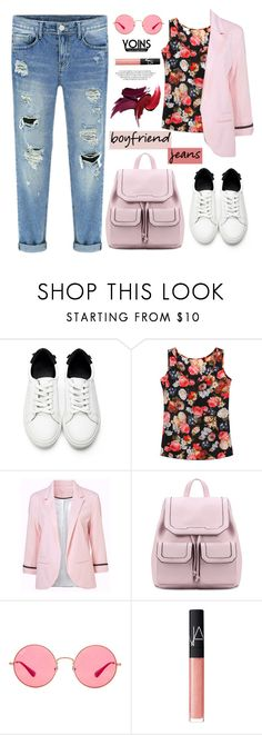 """""""Borrowed from the Boys: Boyfriend Jeans, Yoins!"""" by samra-bv ❤ liked on Polyvore featuring Ray-Ban and NARS Cosmetics"""