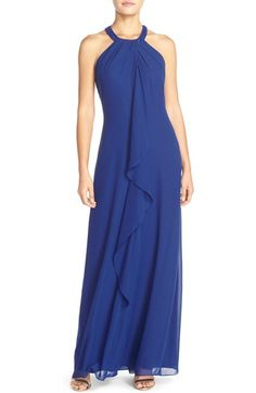 London Times Beaded Neck Chiffon Gown available at #Nordstrom