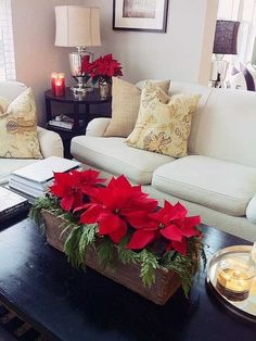 Christmas Poinsettia Centerpiece --- Instead of just leaving your poinsettias in the less-than-enthusing foil they come in, go to a craft store and pick up a large enough rustic-looking box that would fit 3 plants inside. This a much more attractive alternative and may actually get you to keep your poinsettias out for longer than just until Christmas!