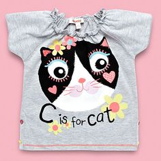 bluezoo Girl's grey 'C is for cat' t-shirt- at Debenhams.com