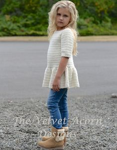 CROCHET PATTERN-The Script Pullover 2/3, 4/5, 6/7, 8/9, 10/11, 12/14, Small, Medium and Large sizes by Thevelvetacorn