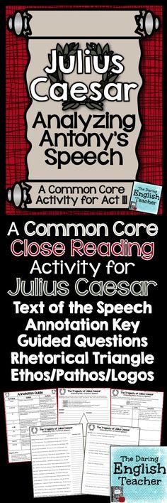 A common core close reading activity for Julius Caesar. #highschoolenglish #Shakespeare