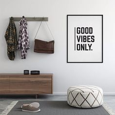 'Good Vibes Only' Monochrome Typographic Print by oso twee, the perfect gift for Explore more unique gifts in our curated marketplace. Typography Prints, Quote Prints, Wall Prints, Frame Template, Interior Exterior, Good Vibes Only, Handmade Wooden, Floating Nightstand, Monochrome
