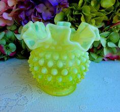Vintage Fenton Art Glass Yellow Vaseline Topaz Opalescent Hobnail Ruffled Vase #Fenton