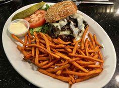 https://flic.kr/p/RC6qup | mushroom Swiss burger and sweet potato fries from Pinecrest Diner | www.placesiveeaten.com/blog/pinecrest-diner-san-francisco
