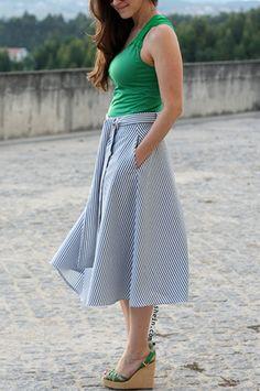 Blue Striped Pocket Tie Waist Midi Skirt