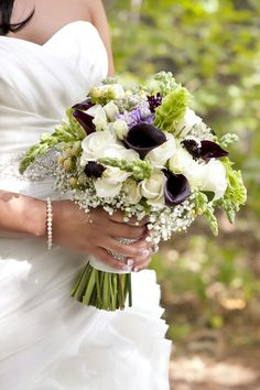 Pretty Wedding Bouquet Featuring: White Roses, White Spray Roses, White Gypsophila, Lavender Florals, Burgundy Scabiosa, Hot Chocolate Calla Lilies, Snapdragons, White Hypericum Berries, Green Bells Of Ireland