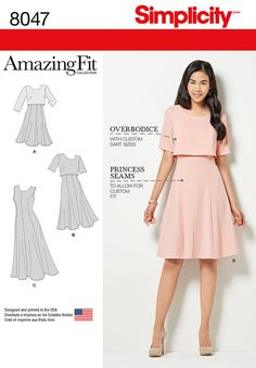 Simplicity Patterns Amazing Fit Misses Dress in Slim, Average & Curvy Fit Size: 8047 - deal coupon Simplicity Sewing Patterns, Dress Sewing Patterns, Clothing Patterns, Pattern Dress, Dress Paterns, Diy Clothing, Sewing Clothes, Nursing Dress, Miss Dress