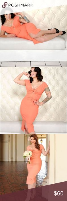 👗 Pinupgirl Clothing Niagra Dress This is a Pinupgirl Clothing Niagra Dress in peach. The dress is made from a high quality, soft stretch bengaline  (which makes it comfortable when wearing). Features a sexy almost off the shoulder neckline with little cap sleeves. A tie detail with cut out detail in the front, a fitted silhouette, and gathered detail down the center front of dress which provides a beautiful silhouette. A sexy front slit provides a perfect touch. Pinupgirl Clothing Dresses