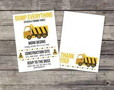 Construction themed birthday invitation.  Tonka Truck printed birthday invitations.  Comes with FREE envelopes!