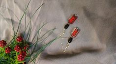 Oriental Style Red and Black Drop Earrings