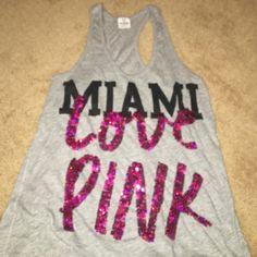 Miami Love Pink VS tank Grey razorback Miami Love Pink glitter tank. Loose fitting, size medium. PINK Victoria's Secret Tops Tank Tops