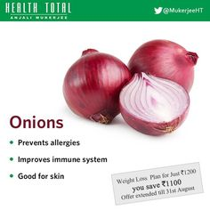 Benefits of Onions Health Foods, Weight Loss Plans, Immune System, Onions, Allergies, Benefit, Lose Weight, Vegetables, Healthy Foods