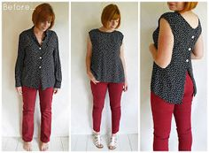 Refashion Co-op: Refashioned outfit: Polka Blouse… DIY Clothing & Tutorials: Refashioned outfit: Polka Blouse and jeans. polka-dot blouse refashion :: back to front! Button down blouse refashion. Turn around, trim neckline. Another refashion by turning Blouse Refashion, Diy Clothes Refashion, Diy Clothing, Sewing Clothes, Refashioned Clothing, Refashioning Clothes, Redo Clothes, Diy Kleidung, Altering Clothes