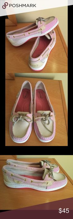 Like new Sperry pink leather boat shoes Like new condition been worn handful times no rips no spots no outsole wear Sperry Top Sider pink leather boat shoes . No box . Price firm Sperry Top-Sider Shoes Flats & Loafers